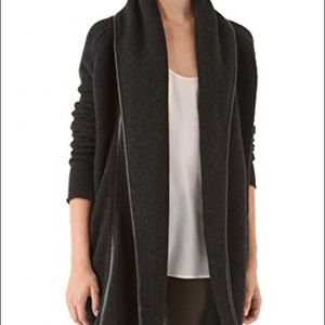Vince Wool Leather Trim Coat Heather carbon